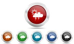 storm round glossy icon set, colored circle metallic design internet buttons - stock illustration