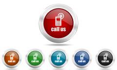 Call us round glossy icon set, colored circle metallic design internet button Stock Illustration