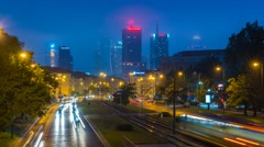 Warsaw City Center Skyscape Night Timelapse in the Fog Warszawa Panorama Stock Footage