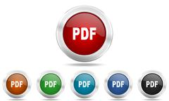pdf round glossy icon set, colored circle metallic design internet buttons - stock illustration