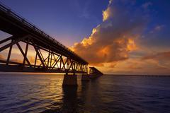 Florida Keys old bridge sunset at Bahia Honda - stock photo