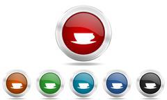 Espresso round glossy icon set, colored circle metallic design internet butto Stock Illustration