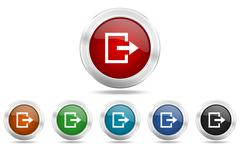 Exit round glossy icon set, colored circle metallic design internet buttons Stock Illustration