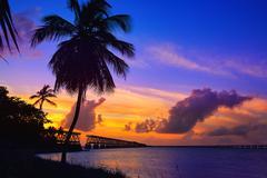 Florida Keys old bridge sunset at Bahia Honda Kuvituskuvat