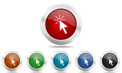 click here round glossy icon set, colored circle metallic design internet but - stock illustration