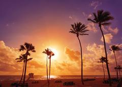Fort Lauderdale beach sunrise Florida US - stock photo