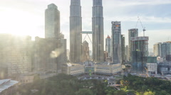 Timelapse of dramatic sunset over KLCC Park Stock Footage