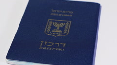 Pannning left of Israeli passport on white background Stock Footage