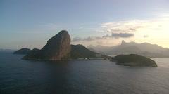 Flying towards Botafogo Bay with Sugar Loaf Mountain, Rio De Janeiro,Brazil Stock Footage