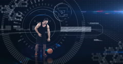 Athlete playing basketball against animated background Stock Footage