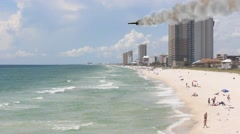 Star Ship Flyby Panama City Beach With Vapor Trail Stock Footage