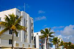 Miami Beach Ocean boulevard Art Deco Florida - stock photo