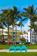 Miami Beach Ocean boulevard Art Deco Florida - stock photo