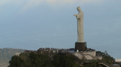Aerial view of Christ the Redeemer Statue in Rio de Janeiro, Brazil. Stock Footage
