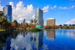 Orlando skyline fom lake Eola Florida US - stock photo