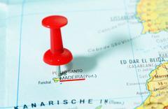 Madeira island map Stock Photos