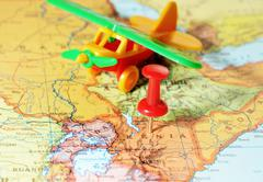 Kenia Africa map airplane Stock Photos