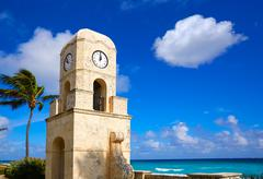 Palm Beach Worth Avenue clock tower Florida Stock Photos