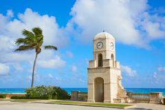 Palm Beach Worth Avenue clock tower Florida - stock photo
