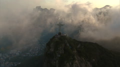 High angle Aerial View of Christ the Redeemer in clouds, Rio de Janeiro, Brazil - stock footage