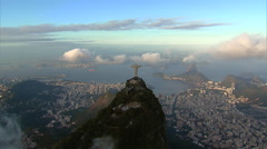Aerial view of Christ and Sugarloaf Mountain, Rio de Janeiro, Brazil Stock Footage