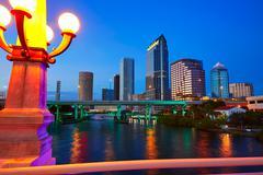 Florida Tampa skyline at sunset in US Kuvituskuvat