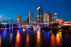 Florida Tampa skyline at sunset in US Stock Photos