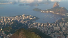 Aerial view of people watching Rio De Janeiro panorama with Sugar Loaf Mountain. Stock Footage