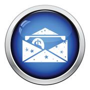 Birthday gift envelop icon with money - stock illustration