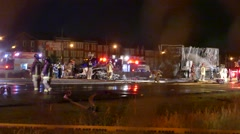 Tragic accident scene with fire and multiple vehicles - stock footage