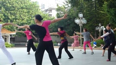In the morning people dancing, in Shenzhen, China Stock Footage