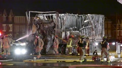 Fire crews battling fire after spectacular highway crash Stock Footage