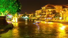 Nightly view on the river and the skyline of Melakka Stock Footage