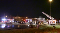 Chaotic aftermath of multi fatal highway accident - stock footage