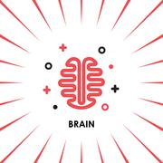 Brain Logo silhouette top view design vector template. Brainstorm think idea Stock Illustration