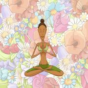 Woman yoga meditating - stock illustration
