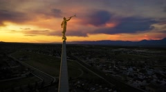 Aerial view of LDS Temple in Oquirrh Mountain With Color Stock Footage