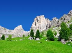 Valle del Vajolet in Dolomites,Italien Alps - stock photo