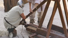 Medieval battle catapult close up Stock Footage