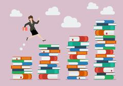 Business woman jumping over higher stack of books Stock Illustration