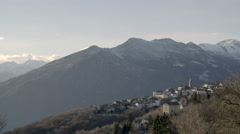 Alps view in north Italy Piedmont at Andrate in sunny winter day Stock Footage