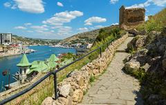 Genoese fortress Cembalo built beginning in 1357. Balaklava in Crimea Stock Photos
