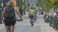 Bicyclists on designated bike lane in Toronto, Ontario, Canada. Stock Footage