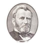 """Ulysses S. Grant"" face on US fifty or 50 dollars bill macro, united states m - stock photo"