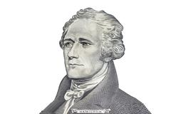 """Alexander Hamilton"" face on US ten or 10 dollars bill macro, united states m Stock Photos"