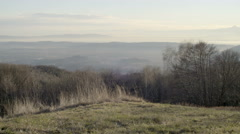 View of the Pianura Padana area in north Italy Piedmont from Andrate Stock Footage