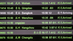 Arriving schedule board in China airport - stock footage