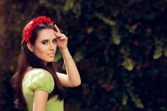 Summer Girl with Red Floral Headpiece - stock photo