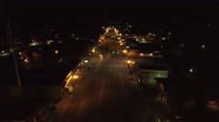 Aerial shot of the rural town lights at night Stock Footage