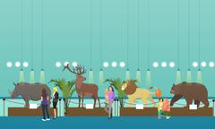 Archaeological museum interior vector banner. Visitors watching exhibition Stock Illustration